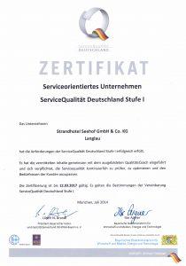 Zertifikat ServiceQualität Deutschland Strandhotel Seehof