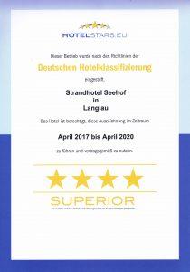 Auszeichung Deutsche Hotelklassifizierung Strandhotel Seehof