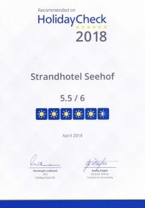 HolidayCheck 2018, Strandhotel Seehof