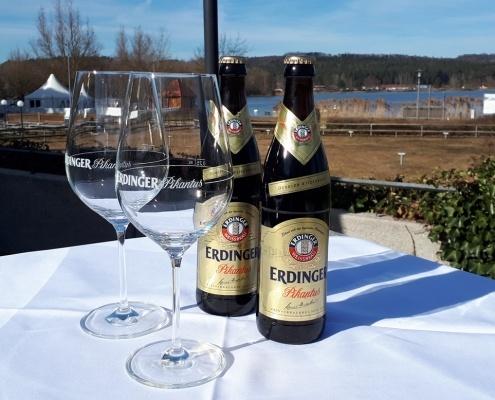 Bier auf Terrasse, Kleiner Brombachsee, Aktivresort Strandhotel Seehof
