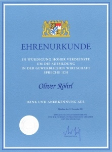 Ausbildung Auszeichnung Oliver Röhrl